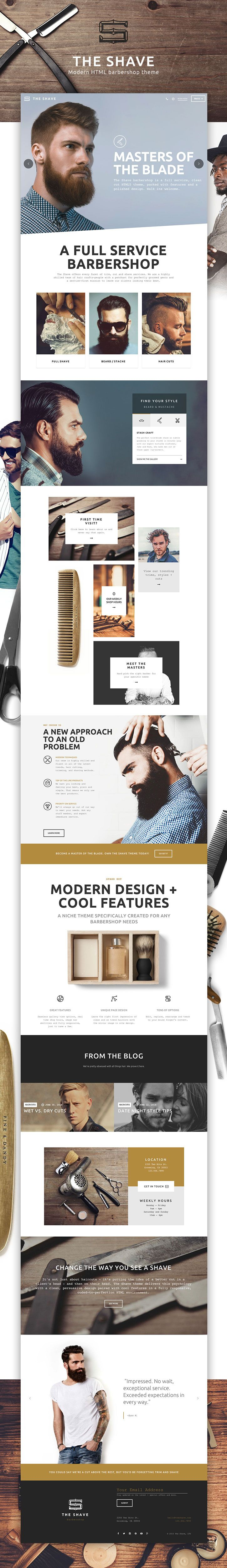 This aint your grand daddy's barbershop! Details here: http://themeforest.net/item/the-shave-barbershop-clean-cut-html-template/14051002?ref=everytuesday