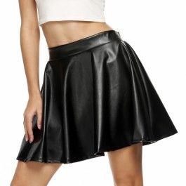 2016 Spring Free Ship in DE Zeagoo Ladies Women Sexy Faux Leather Elastic Waist Pleated Mini Skirt