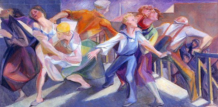 Boris Taslitzky - SCÈNE DE GRÈVE AUX USINES RENAULT, 1939, huile sur toile, 100 x 200 cm, © Musée des années 30