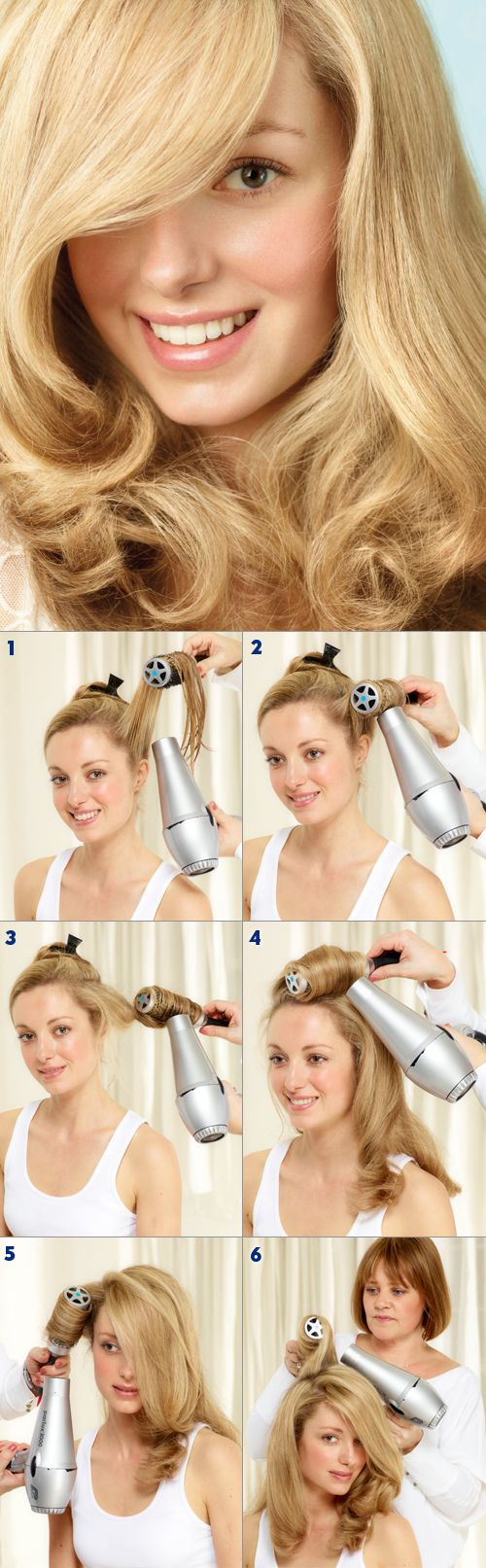 STEP 1 Take sections from the bottom layer of the hair, blowdry using a medium round brush. STEP 2 Roll the hair around the brush to create a curl in the hair. Then ler the hair cool for a longer-lasting effect. STEP 3 Twist the hair out of the brush. STEP 4 After working around the bottom sections of the hair move onto the top sections Blowdry the hair in front of your ears forwards and the hair behind your ears backwards. STEP 6 Shake out the hair for a natural finish and spray to control…
