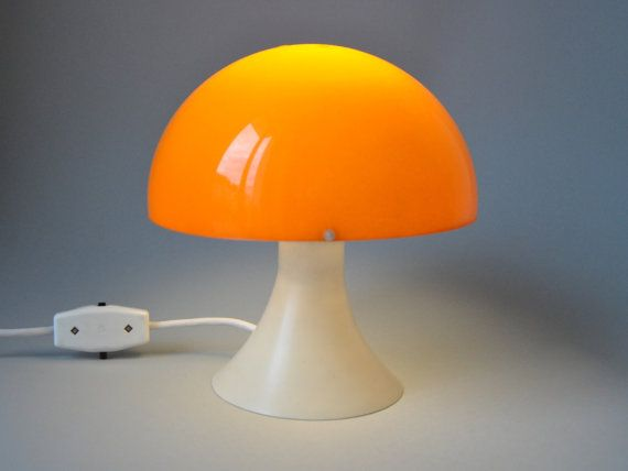 Vintage Orange Mushroom Desk Lamp Panton Style In Bright
