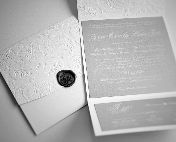 Silver invitation with wax seal