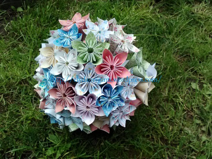 origami wedding boquet