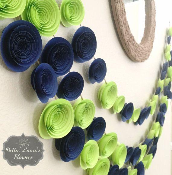 Paper Flower Garland Navy Blue & Lime Green  by BellaLunasFlowers