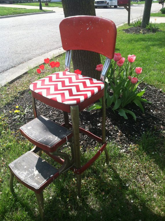 Vintage Upcycled Cosco Red Metal Step Stool - would love a stool like this for the & 87 best Cosco Step Stool images on Pinterest | Kitchen stools ... islam-shia.org