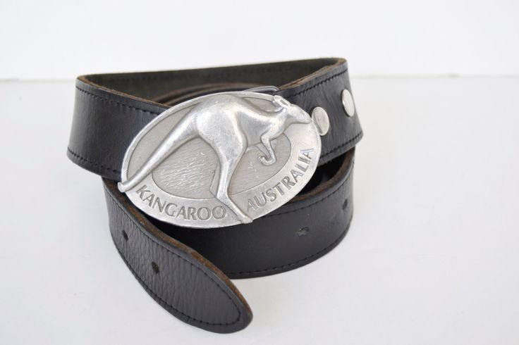 cinturón de cuero negro, canguro australiano,talla 110/44,ancho 4 cm-1 1/2 inches