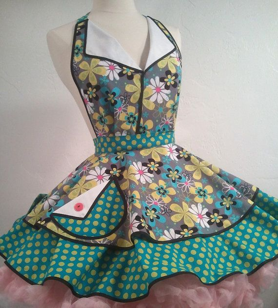 June Cleaver Pin Up Apron Teal Garden by SassyFrasCollection