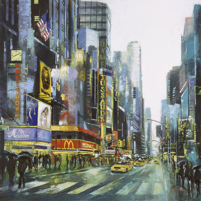 """""""Theatre District 7th Ave & 41st"""" Original by Judith Dalozzo Acrylic on Canvas 95 x 95cm Limited Edition Giclee Canvas Prints also available."""