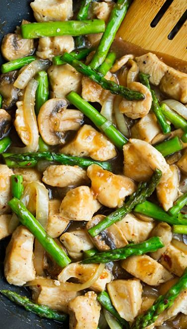 Ginger Chicken Stir-Fry With Asparagus. I'd add a bunch more veggies too. Sub brags aminos for the soy sauce...