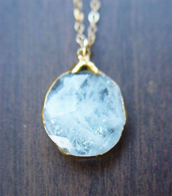 35% OFF Aquamarine pendant necklace OOAK 14k Gold by friedasophie