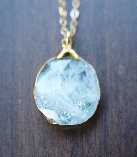 SALE Aquamarine pendant gold necklace by friedasophie on Etsy