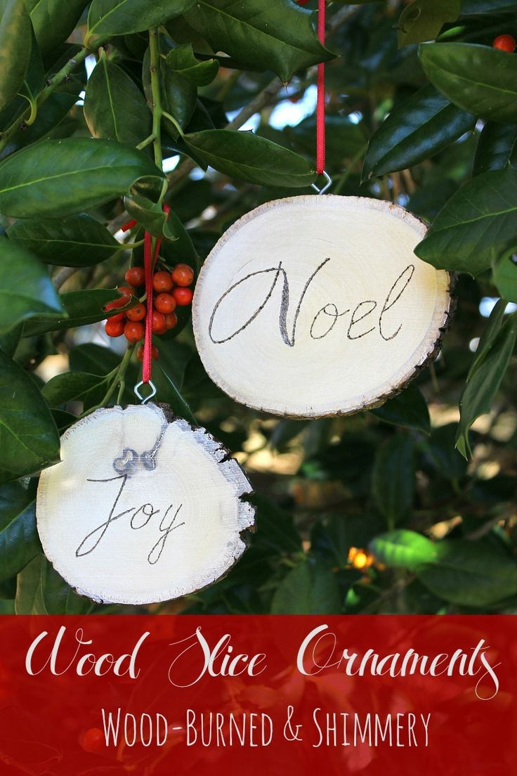 Plaid monograms natural wood ornaments feathers and i couldn t - Handmade Wood Slice Christmas Ornaments