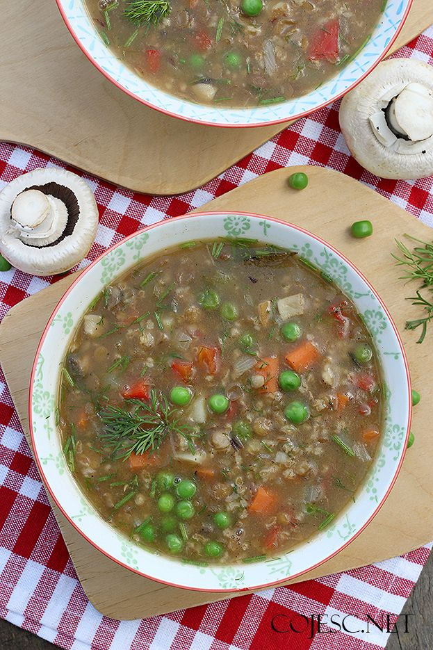 Zupa z zielonej soczewicy i pieczarek   Zdrowe Przepisy Pauliny Styś