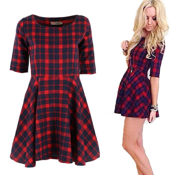 2016 New Women Red Plaid Dress Round Neck Summer Half Sleeve Fashion Mini Dresses Vestidos Y2 -- Read more at the image link.