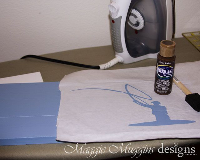 Use cricut to cut design on freezer paper, then iron lightly to board, then paint!