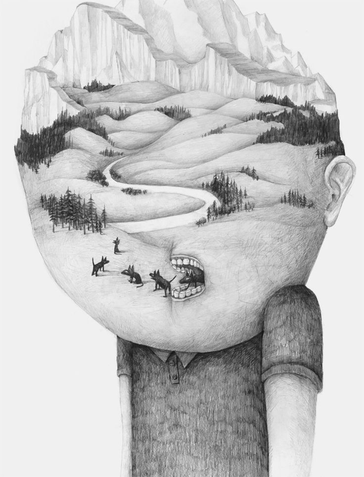 Headsongs: Graphite Portraits Morph into Landscapes