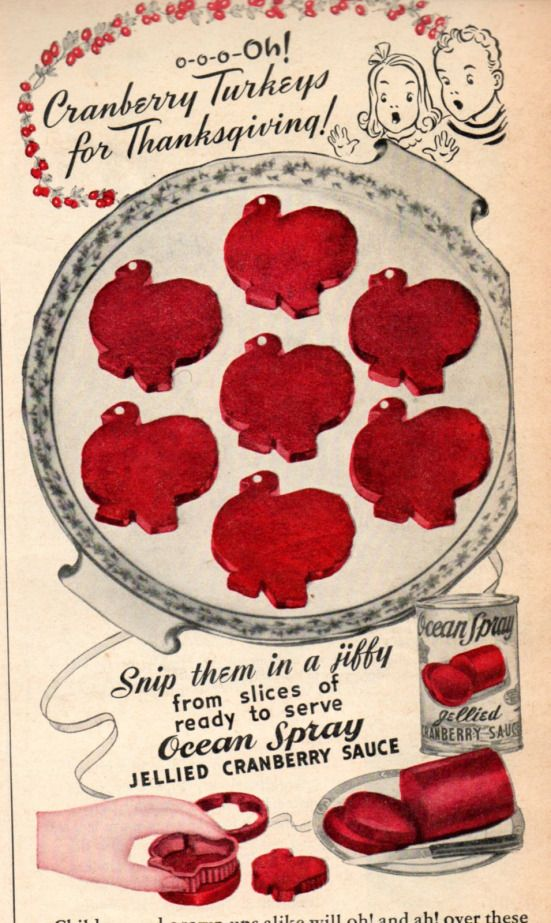 Jellied Cranberry Sauce Turkeys for Thanksgiving #midcentury