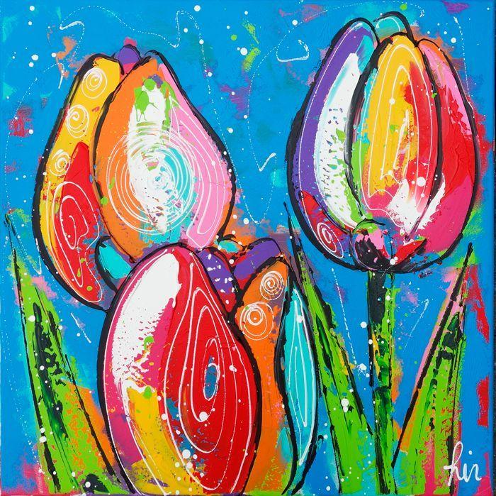 Vrolijk Schilderij Tulpen blauw