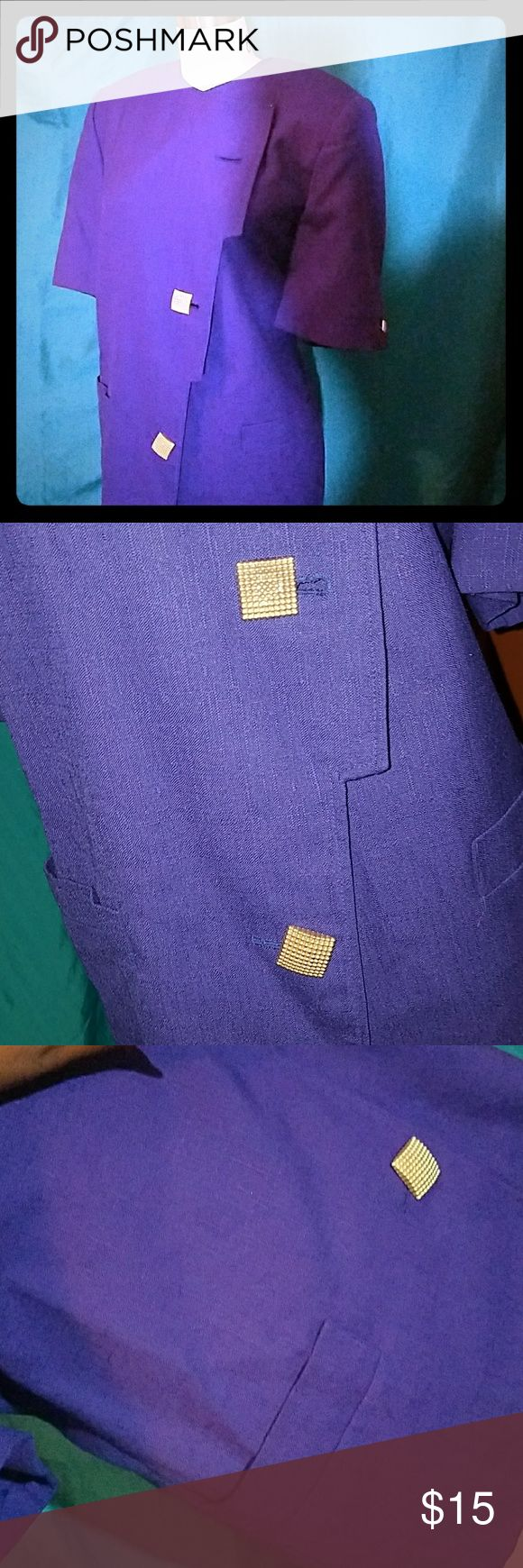 Royal Purple Blazer Short Sleeve Blazer. 3 Buttons From Chest to Belly [1 missing]  Perfect DIY Fix! Make it Really Yours by Adding a Button Of Your Choice Buttons are Gold Blazer is @ Hip Length Front Pockets are Real but Very Small Blazer Shell 50/50% Polyester Rayon Lining 100% Polyester Emily... Jackets & Coats Blazers