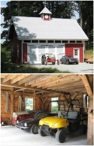 132 best images about barn plans outbuildings on pinterest for Tractor garage plans