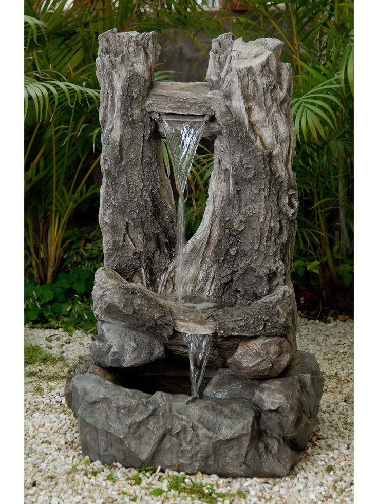 21 best water fountains wooden log images on pinterest for Wooden pond waterfalls