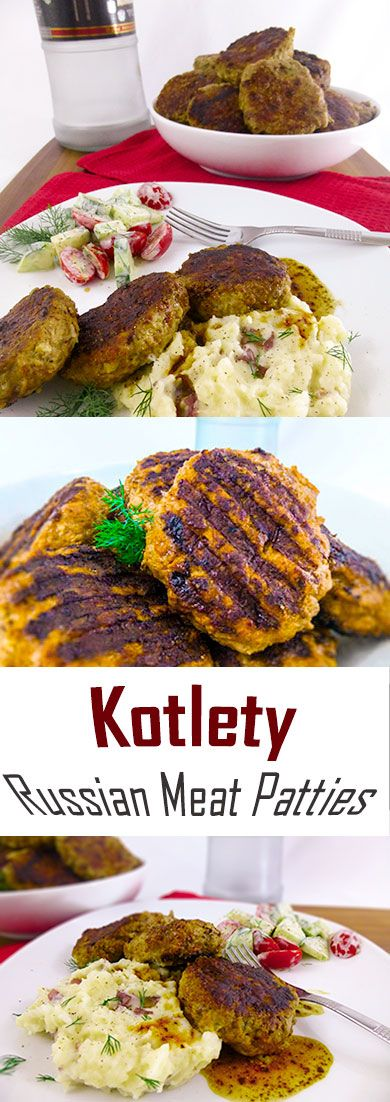 Kotlety~DELICIOUS Russian Meat Patties. They're comfort food, Eastern European style. You can call them bun-less burgers or large meatballs if you prefer.