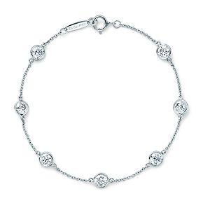 Elsa Peretti® Diamonds by the Yard® bracelet in platinum with seven diamonds.