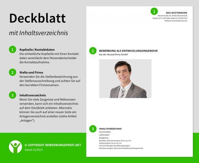 Deckblatt Bewerbung Inhaltsverzeichnis