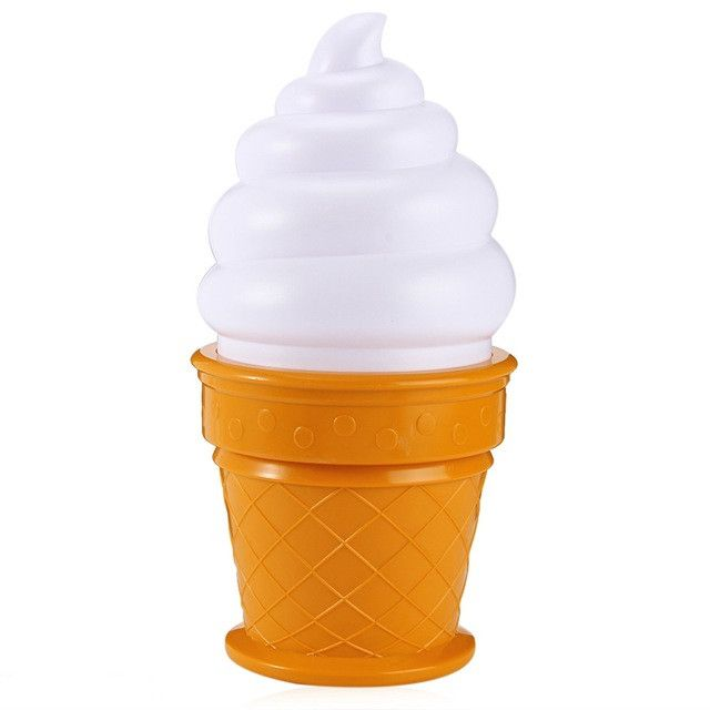 Yummy! These cute ice cream night lights give a lovely soft glow when illuminated so great for children's rooms. They are lit with long lasting LED bulbs.