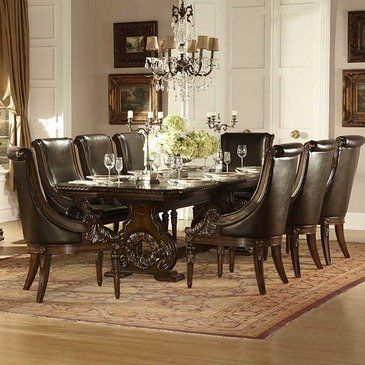What Is Included:Dining Table (1)Arm Chair (8) The Grandeur Of Old World  Europe Is Flawlessly Executed In The Orleans Collection. Acanthus Leaf  Carvings ...