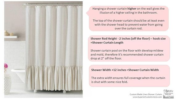 Linen Shower Curtain With Stripes Accent Custom Shower Etsy