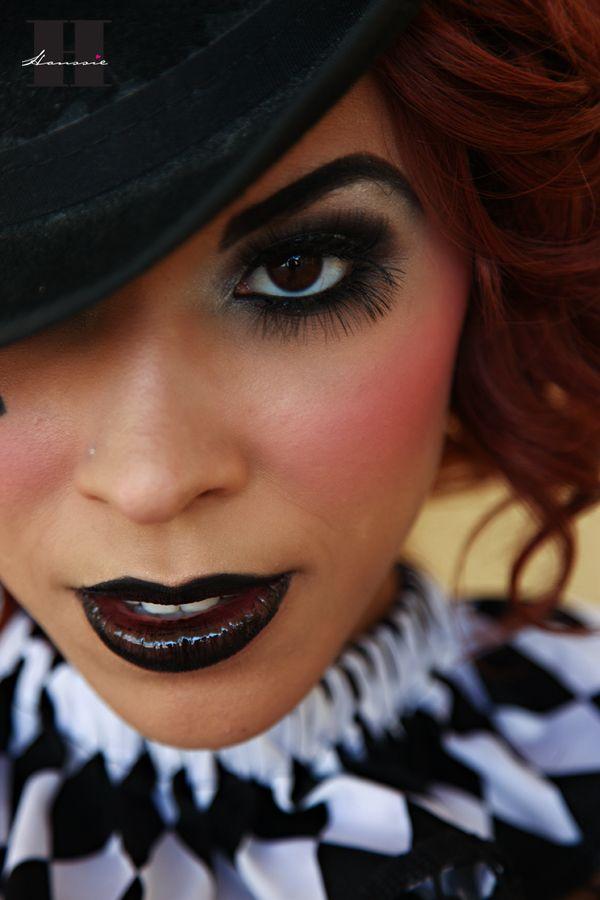 Pretty circus makeup.