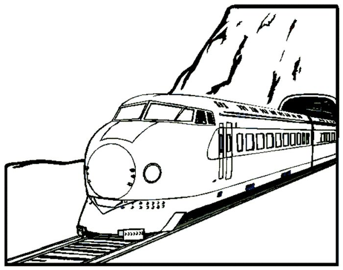 train passed a tunnel coloring page