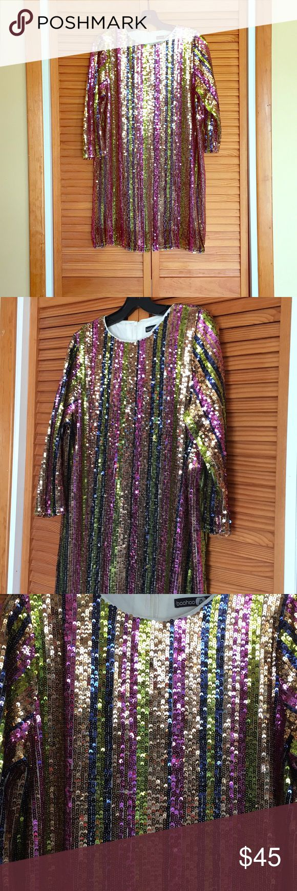 """‼️cyber weekend sale😀Boohoo sequins stripes dress Modem British brand, in simple shift style. Are you ready for the celebration!! Bust 41"""", L 33"""", sleeves 18.5"""" Boohoo Dresses"""