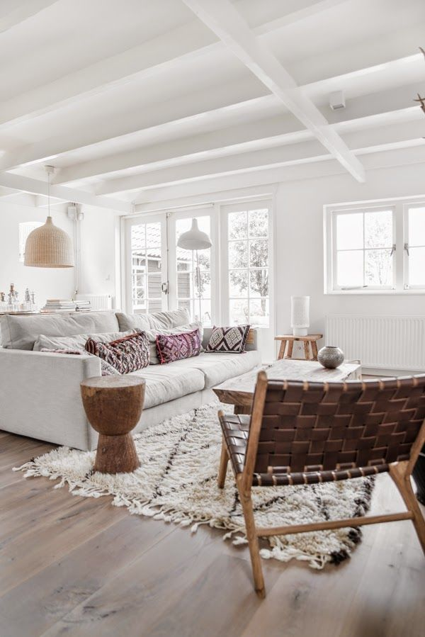 A serene room in whites and browns