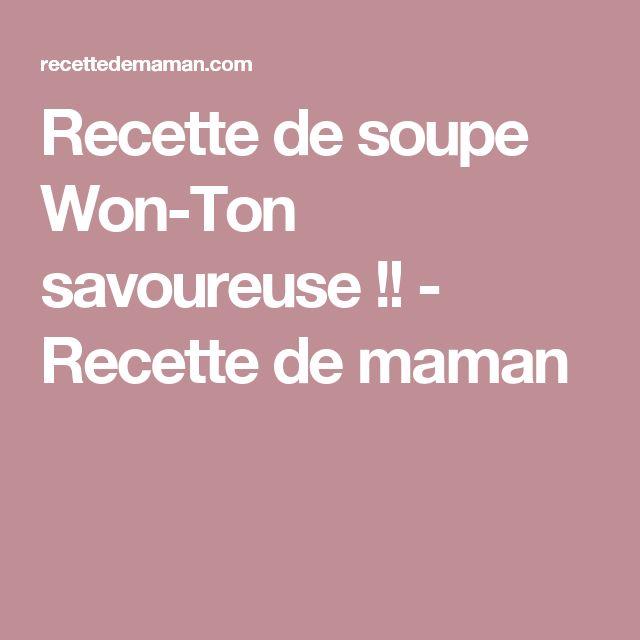 Recette de soupe Won-Ton savoureuse !! - Recette de maman