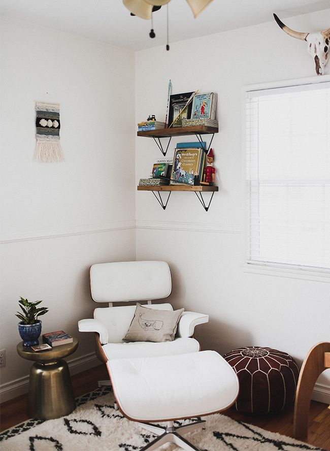 Comfortable yet modern seating area for baby's nursery.