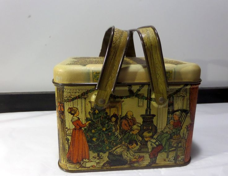 Vintage Candy/Cookie Tin - Lunch Box Style - Victorian Litho Family Christmas Scene by TSUSENCOLLECTIBLES on Etsy