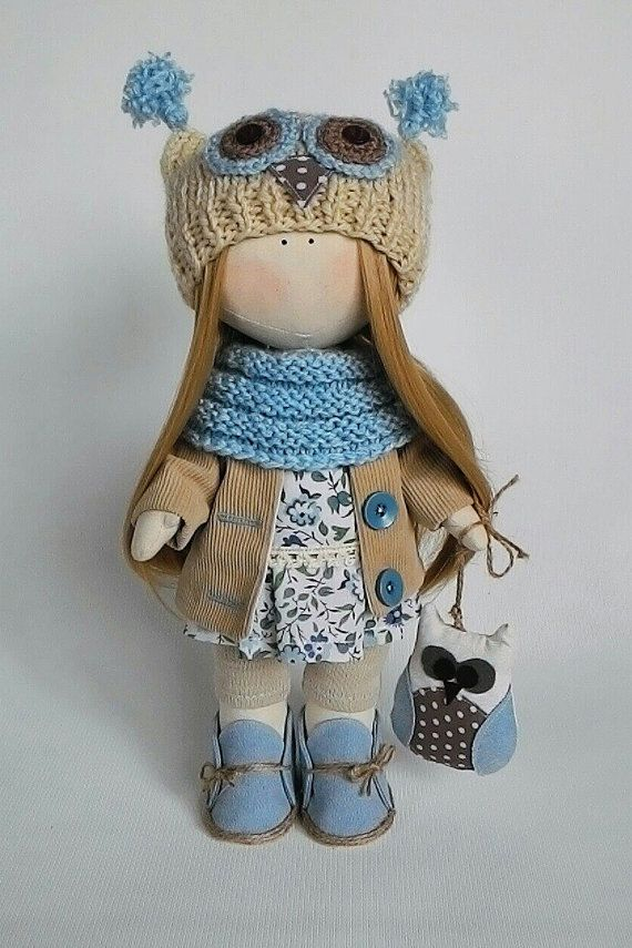 Dress up fabric doll owl, soft toy owl, cloth art doll, gift for girls