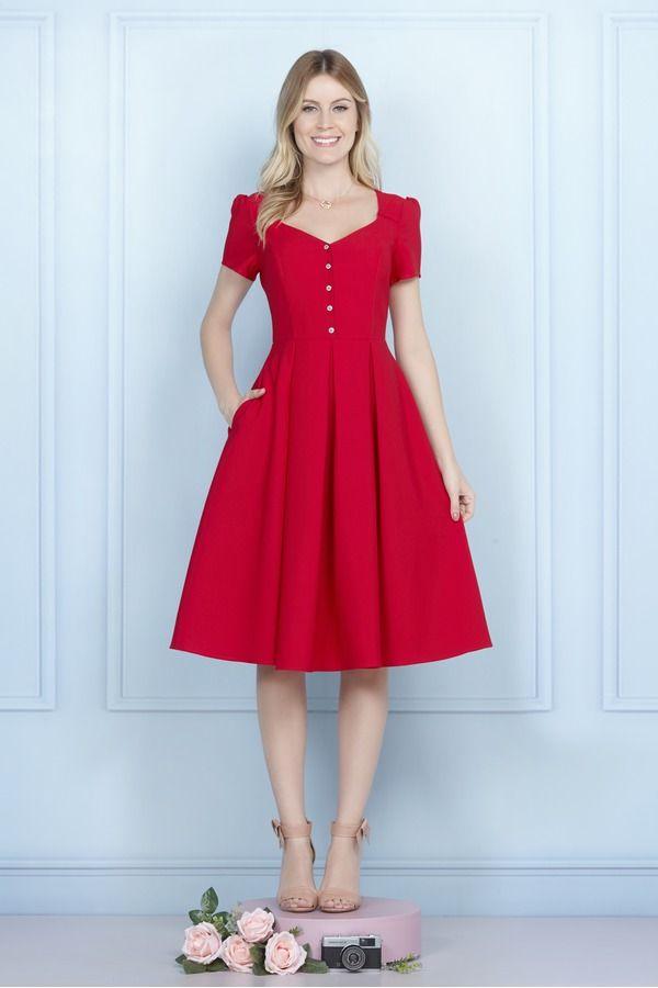 Vestido Midi Sonhos De Louisa Cuplover Vestido Vermelho Midi