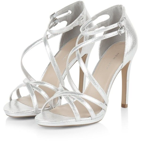 Silver Multi-Strap Heels found on Polyvore featuring polyvore, women's fashion, shoes, pumps, heels and heel pump