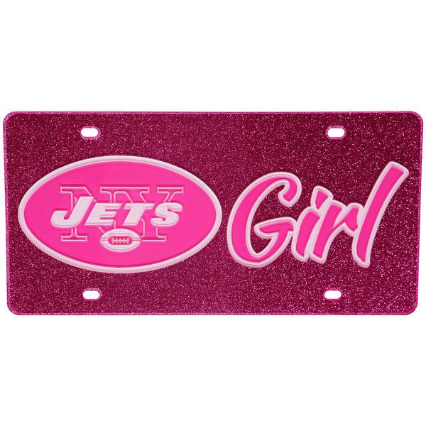 New York Jets Pink Glitter Acrylic License Plate with White Design Inlay - $29.99