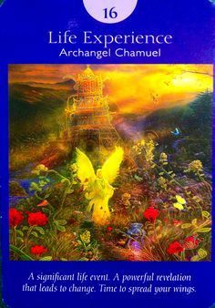 XVI. The Tower (Life Experience) - Archangel Chamuel - Angel Tarot Cards by Doreen Virtue and Radleigh Valentine. Artwork by Steve A. Roberts