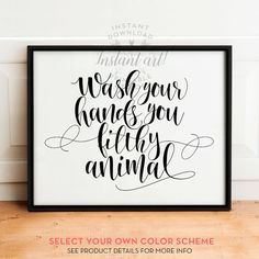 Wash Your Hands Printable Art Bathroom By Thecrownprints On Etsy Bathroom Decor Funny Bathroom Sign