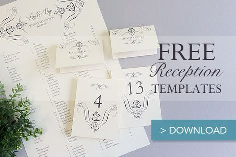 Coordinate your reception with this set of free printable wedding reception templates. Included is an elegant seating chart, place cards, and table numbers.