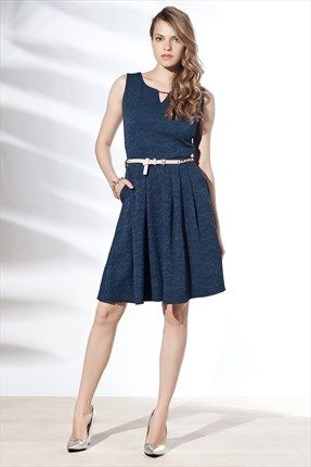 Zanzi - Lacivert Jakar Elbise 24489 ile Trendyol da