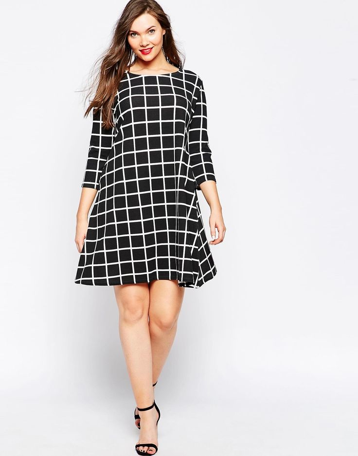 Image 4 ofPraslin 3/4 Sleeve Checked Swing Dress