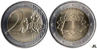 Moedas de Euro emitidas por Portugal: 50.º Aniversário do Tratado de Roma - Valor 2.00€
