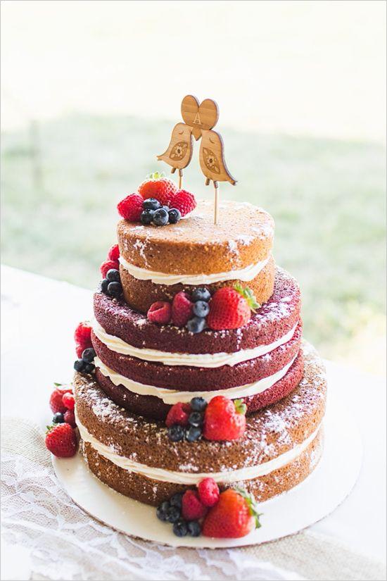 Love bird topped naked cake @weddingchicks