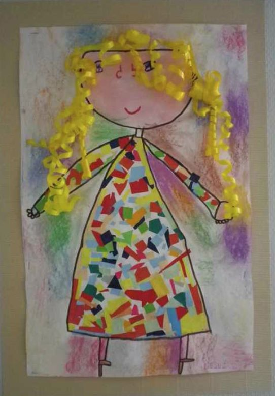 Ribbon hair, chalk pastel background, and paper scraps for the dress.